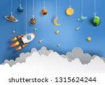 paper art style of rocket... | Shutterstock .eps vector #1315624244