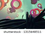 female symbol. feminism. 2d... | Shutterstock . vector #1315648511