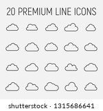 premium set of cloud line icons.... | Shutterstock .eps vector #1315686641