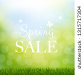 spring sale with grass border... | Shutterstock .eps vector #1315717304