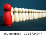 red figurine stand out from the ... | Shutterstock . vector #1315734047