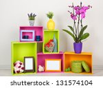 beautiful colorful shelves with ... | Shutterstock . vector #131574104