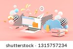 laptop   browser and file... | Shutterstock . vector #1315757234