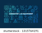 chemistry lab equipment blue... | Shutterstock .eps vector #1315764191
