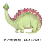 cartoon watercolor dinosaur... | Shutterstock . vector #1315764254