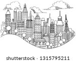 hand drawn city sketch for your ... | Shutterstock .eps vector #1315795211