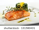 baked salmon steak with spinach ... | Shutterstock . vector #131580431