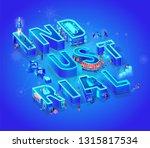 vector 3d neon isometric word... | Shutterstock .eps vector #1315817534