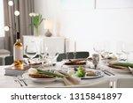 festive passover table setting... | Shutterstock . vector #1315841897
