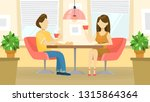 couple sitting in cafe and... | Shutterstock .eps vector #1315864364