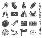 happy new year gray icons set.... | Shutterstock .eps vector #1315870427