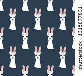 llama in rabbit ears seamless...   Shutterstock .eps vector #1315877831