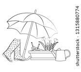 spring flowers under umbrella...   Shutterstock .eps vector #1315880774
