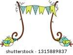 cute birds holding party banner  | Shutterstock .eps vector #1315889837