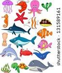sea life cartoon set | Shutterstock . vector #131589161