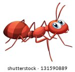 Illustration of a big red ant on a white background - stock vector