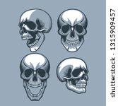 a set of four skulls looking in ... | Shutterstock .eps vector #1315909457