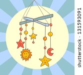 baby crib cute hanging mobile... | Shutterstock . vector #131593091