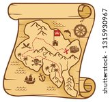old pirate map of treasure... | Shutterstock .eps vector #1315930967