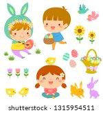 set of easter illustrations... | Shutterstock .eps vector #1315954511