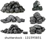 set of piles of coal isolated... | Shutterstock . vector #131595851