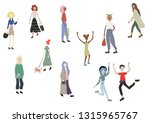 crowd of people walking with... | Shutterstock .eps vector #1315965767