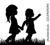 two little girls  vector... | Shutterstock .eps vector #1315969094