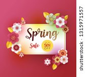 spring banner sale. with leaf... | Shutterstock .eps vector #1315971557