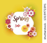 spring banner sale. with leaf... | Shutterstock .eps vector #1315972391