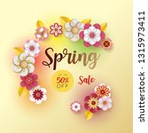 spring banner sale. with leaf... | Shutterstock .eps vector #1315973411