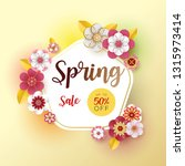 spring banner sale. with leaf... | Shutterstock .eps vector #1315973414
