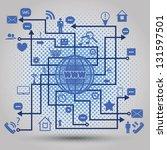 abstract map of social media...   Shutterstock . vector #131597501