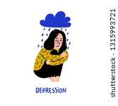 psychology. depression. sad ...   Shutterstock .eps vector #1315993721