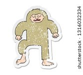 Stock vector distressed sticker of a cartoon bigfoot 1316032334