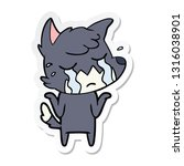 sticker of a crying fox... | Shutterstock .eps vector #1316038901