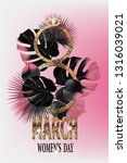 8 march poster with golden... | Shutterstock .eps vector #1316039021