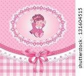 baby shower for girl with toy ... | Shutterstock .eps vector #131604515