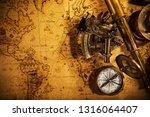 top view of vintage navigation...   Shutterstock . vector #1316064407
