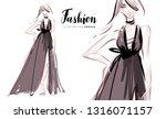 fashion girl in long luxury... | Shutterstock .eps vector #1316071157