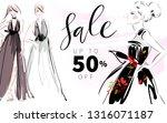 fashion girls in dress hand... | Shutterstock .eps vector #1316071187