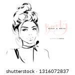 fashion girl with messy bun... | Shutterstock .eps vector #1316072837