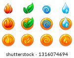 four elements nature icons ...