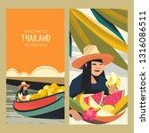 thai fruit traders on the boat. ... | Shutterstock .eps vector #1316086511