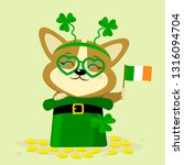 st.patrick s day. a cute dog... | Shutterstock .eps vector #1316094704