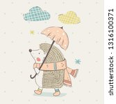 cute hedgehog with umbrella... | Shutterstock .eps vector #1316100371