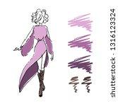 hand drawn fashion sketch woman ... | Shutterstock .eps vector #1316123324
