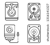 hard disk icons set. outline... | Shutterstock .eps vector #1316141327
