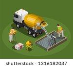 concrete production isometric...   Shutterstock .eps vector #1316182037