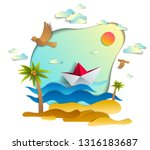 paper ship swimming in sea... | Shutterstock .eps vector #1316183687