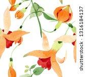 Red Orange Fuchsia Botanical...